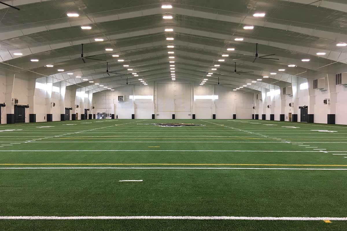 Colquitt County High School's indoor multipurpose facility is ideal for football with its clear span metal building design.