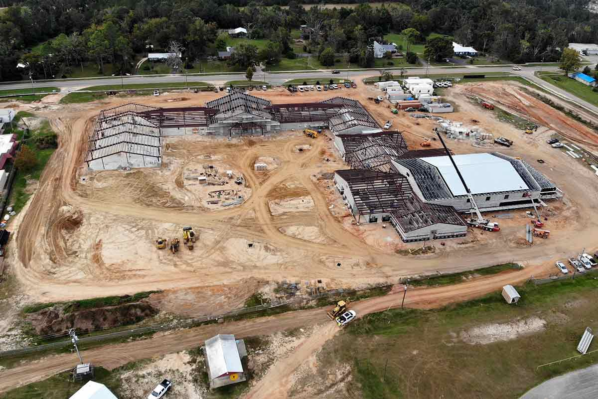 An aerial of 15 buildings under construction that comprise the 82,000 sq ft known as Liberty High School in Bristol, Florida.