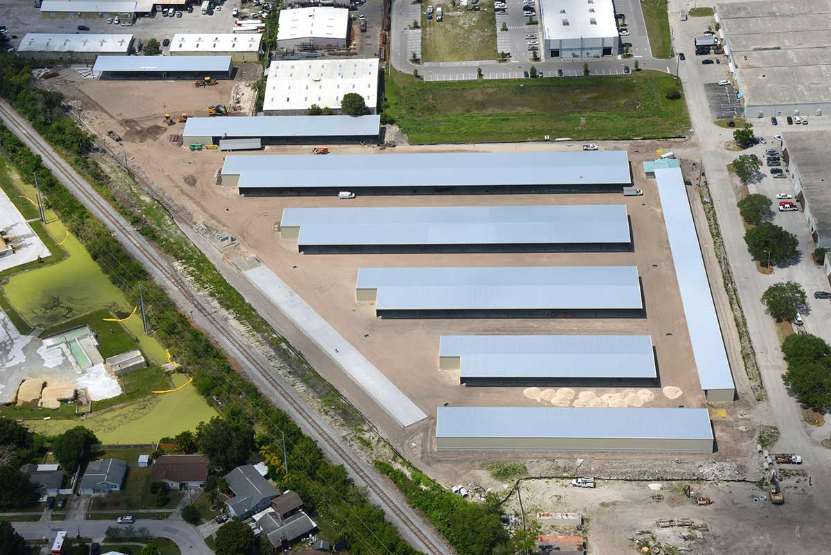 Aerial photo of storage facility for automobiles, boats and recreational vehicles.